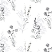 Flora Wallpaper in Greys & Black