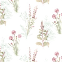 Flora Wallpaper in Pink & Greens