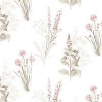 Flora Wallpaper in Pink, Khaki & Grey