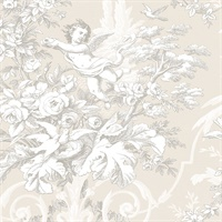 Fabric Toile Wallpaper