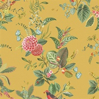 Floris Mustard Woodland Floral Wallpaper