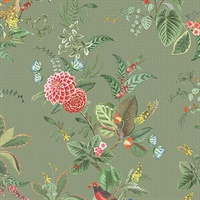 Floris Olive Woodland Floral Wallpaper
