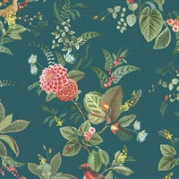 Floris Teal Woodland Floral Wallpaper