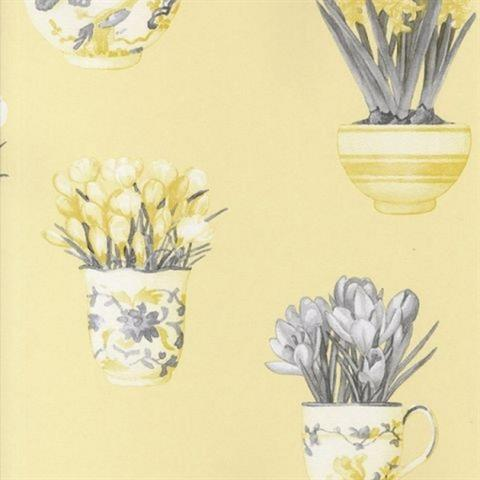 Printemps Tea Cups Wallpaper