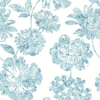 Folia Blue Floral Wallpaper