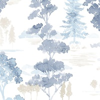 Forest Wallpaper in Beige & Blues