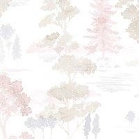 Forest Wallpaper in Pink, Beige & Lavender