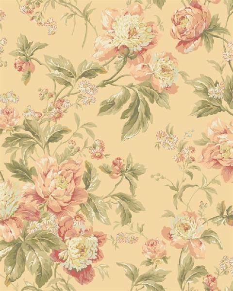 Wa7808 waverly classics red and yellow forever yours - Floral wallpaper home depot ...
