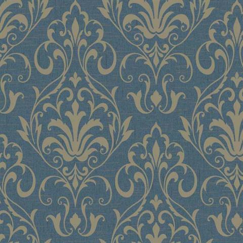 YW1428 Blue French Damask Wallpaper
