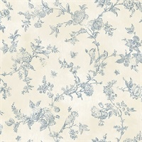 French Nightingale Blue Trail Wallpaper