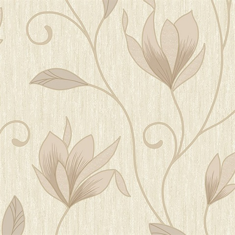 Gallagher Champagne Floral Trail Wallpaper