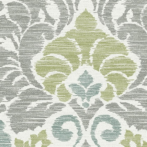 Garden of Eden Green Damask Wallpaper