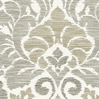 Garden of Eden Taupe Damask Wallpaper