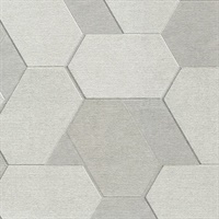 Plaza Pewter Geometric Wallpaper