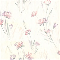 Gloria Eggshell Floral Wallpaper