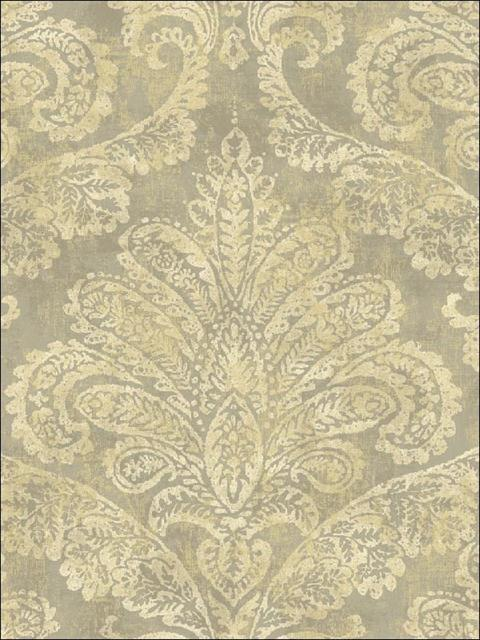 Fy40107 Bellagio Gold And Grey Damask Wallpaper
