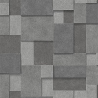 Duchamp Dark Grey Metallic Squares Wallpaper