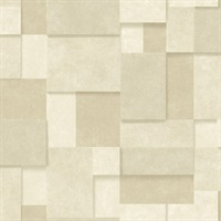 Duchamp Wheat Metallic Squares Wallpaper
