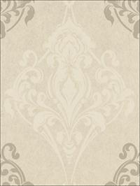 Gothic Medallion Off White on Taupe Metallic Ink