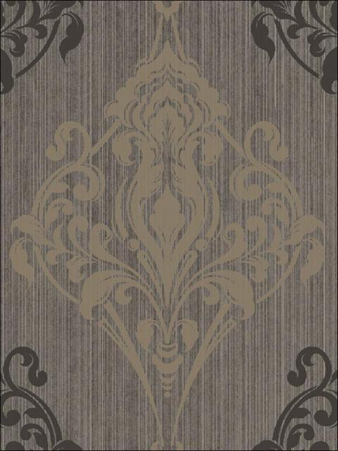 Gothic Medallion Taupe on Taupe Metallic Design