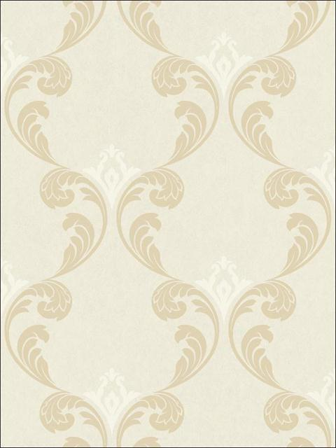Gothic Ogee Cream with Beige Metallic Ink