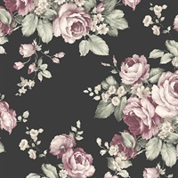 Grand Floral Wallpaper in Black, Ebony, Plum & Pinks