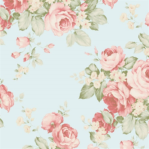 Grand Floral Wallpaper in Blues, Pinks, Red & Green