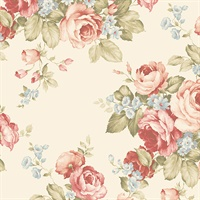 Grand Floral Wallpaper in Cream, Reds, Blues & Greens