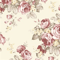 Grand Floral Wallpaper in Red, Cream & Brown