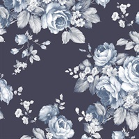 Grand Floral Wallpaper in shades of Blue