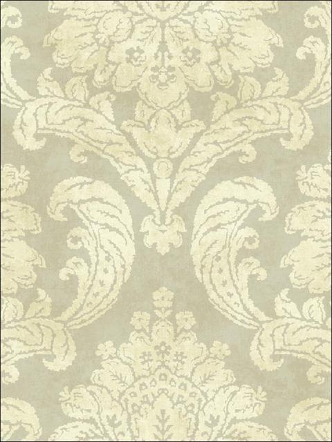 Fy41407 Bellagio Grey And Gold Damask Wallpaper