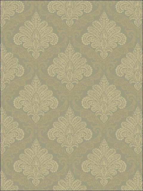Fy40907 Bellagio Grey And Gold Damask Wallpaper