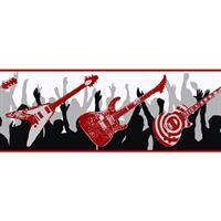 Zb3133 rocker wallpaper boys will be boys vol ii - Guitar border wallpaper ...