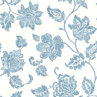 Guy Blue Jacobean Wallpaper