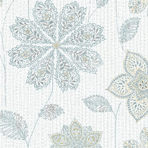 Gypsy Floral Blue/Green Peel & Stick Wallpaper