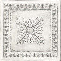 Hazley White Ornamental Tin Tile Wallpaper