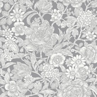 Hedgerow Grey Floral Trails Wallpaper
