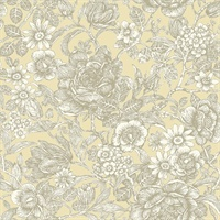 Hedgerow Light Yellow Floral Trails Wallpaper