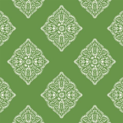 Lime Henna Tile Wallpaper