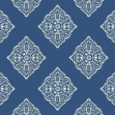 Navy Henna Tile Wallpaper
