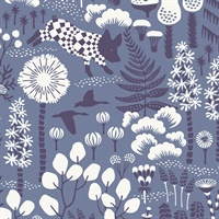 Hoppet Blue Folk Wallpaper