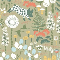 Hoppet Green Folk Wallpaper