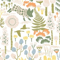 Hoppet White and Folk Wallpaper