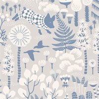 Hoppet Grey Folk Wallpaper