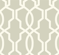 Ashford House Hourglass Trellis Wallpaper - White/Gray