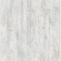 Huck Light Grey Weathered Wood Plank Wallpaper