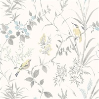 Imperial Garden Light Grey Botanical Wallpaper