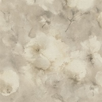 Innocent Beige Watercolor Floral Wallpaper