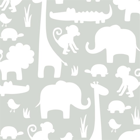 Grey Its A Jungle In Here Peel & Stick Wallpaper