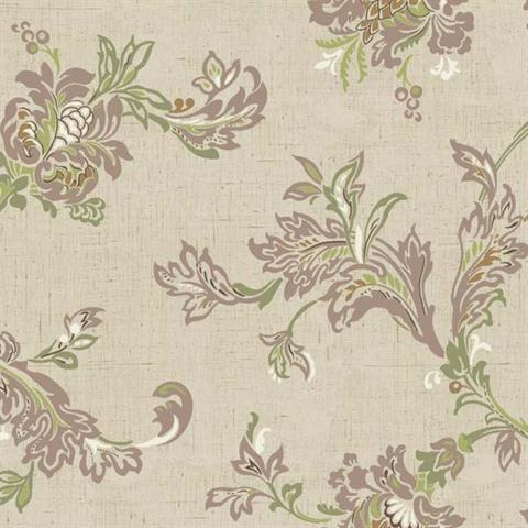 YW1458 Purple And Brown Jacobean Wallpaper